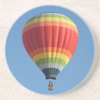 Rainbow colored hot air balloon sandstone coaster