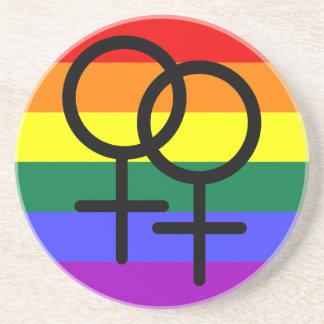 Rainbow Colored Lesbian Pride Flag Coaster