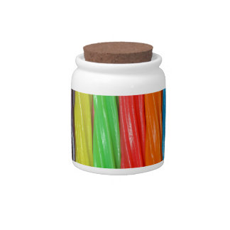 Rainbow colored licorice candy candy jars