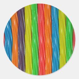 Rainbow colored licorice candy classic round sticker