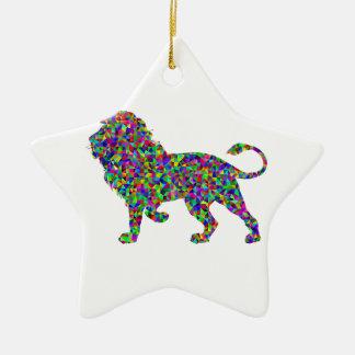 Rainbow Colored Lion Prismatic Art Ceramic Ornament