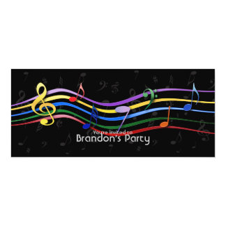 Rainbow Colored Music Notes 4x9.25 Paper Invitation Card