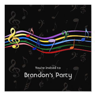 Rainbow Colored Music Notes Birthday Party Invitation