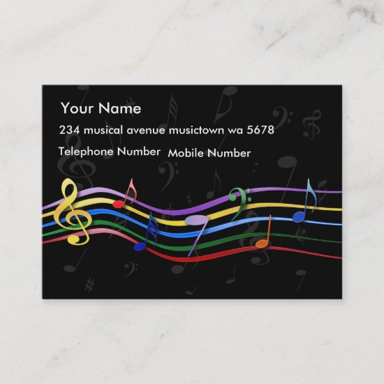 Rainbow Colored Music Notes Business Card