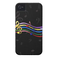 Rainbow Colored Music Notes Case-Mate iPhone 4 Cases