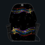 "Rainbow Colored Music Notes Courier Bag<br><div class=""desc"">Rainbow colored musical notes floating on  rainbow colored musical lines on  black and grey musical note background . Any name can be added by clicking on the customize button. Perfect for the music lover. sgb01</div>"