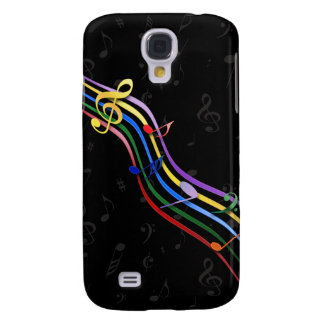 Rainbow Colored Music Notes Galaxy 3 Samsung S4 Case