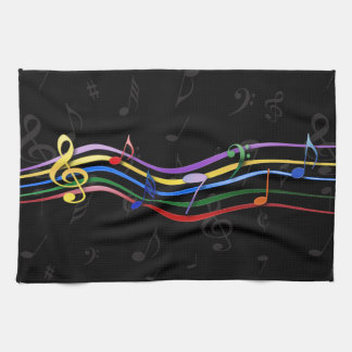 Rainbow Colored Music Notes Hand Towels