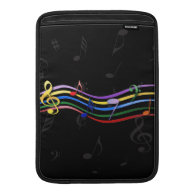 Rainbow Colored Music Notes MacBook Air Sleeves
