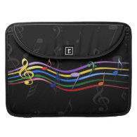 Rainbow Colored Music Notes MacBook Pro Sleeve