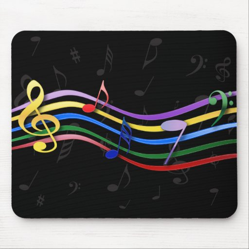 Rainbow Colored Music Notes Mouse Pad