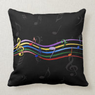 Rainbow Colored Music Notes Pillow