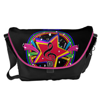 Rainbow Colored musical star and notes Messenger Bag