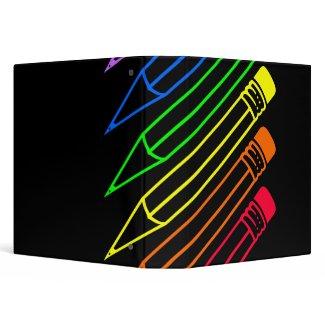 Rainbow Colored Pencils Designed Binder binder