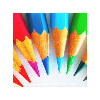 Rainbow Colored Pencils Photo Canvas Print