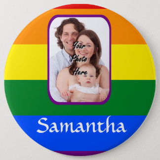 Rainbow colored pinback button