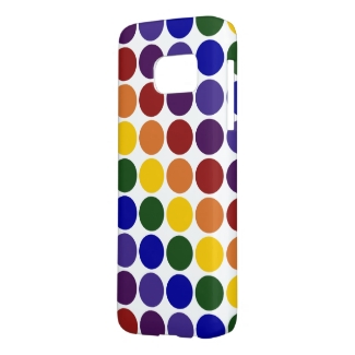Rainbow Colored Polka Dots on White Case