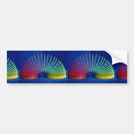 Rainbow-colored slinky toy car bumper sticker