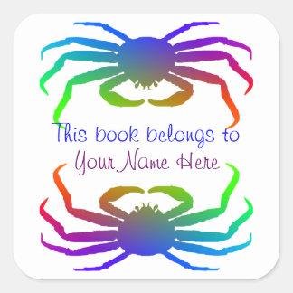 Rainbow Colored Snow Crab Silhouette Square Sticker