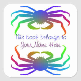 Rainbow Colored Snow Crab Silhouette Square Stickers