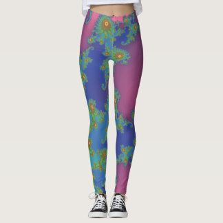 Rainbow Colored Spiral Fractal Design Leggings
