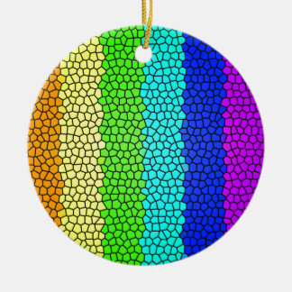 Rainbow colored stained glass (horizontal) ceramic ornament