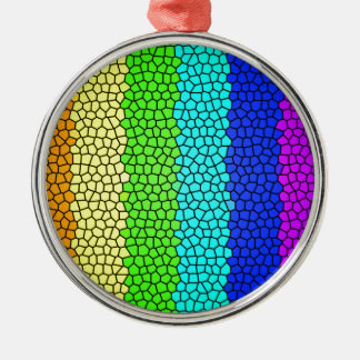 Rainbow colored stained glass (horizontal) metal ornament