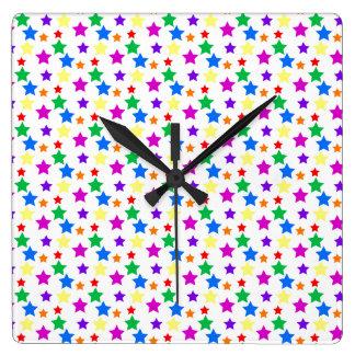 Rainbow Colored Stars Square Wall Clocks