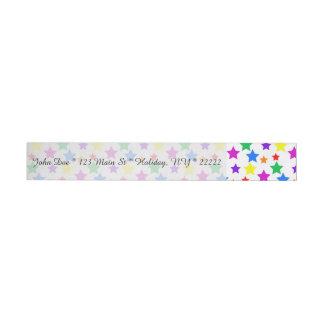 Rainbow Colored Stars Wrap Around Address Label