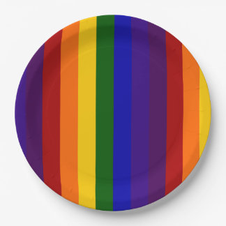 Rainbow Colored Stripes 9 Inch Paper Plate
