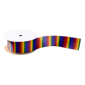 Rainbow Colored Stripes Blank Ribbon