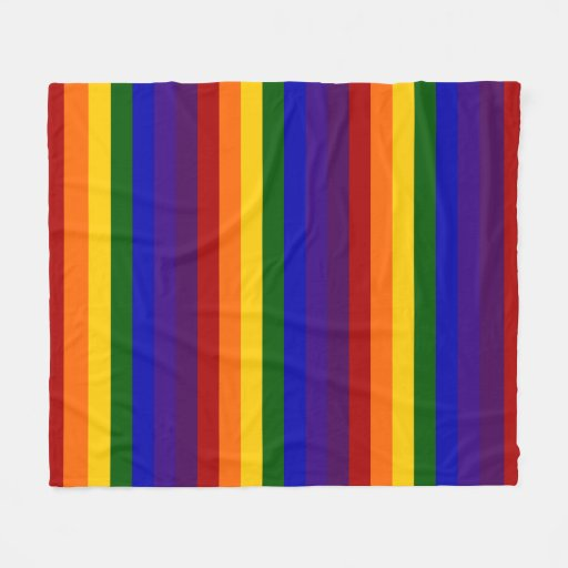 Rainbow Colored Stripes Fleece Blanket