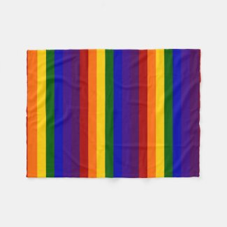 Rainbow Colored Stripes Fleece Blanket
