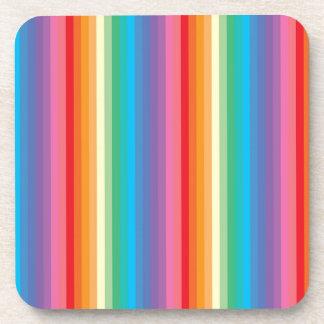 Rainbow colored stripes pattern coaster