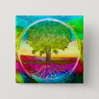 Rainbow Colored Tree of Life Button
