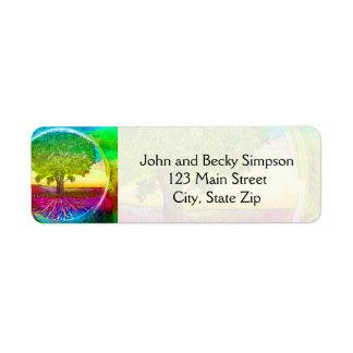 Rainbow Colored Tree of Life Return Address Labels