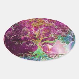 Rainbow Colored Tree of Life Oval Sticker