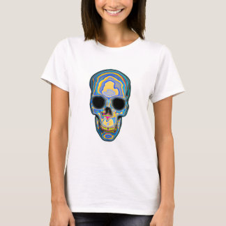 Rainbow Colored, Trippy Skull Design T-Shirt