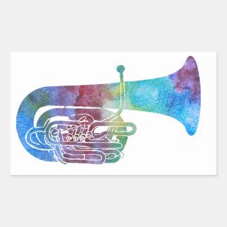 Rainbow Colored Tuba Rectangular Sticker