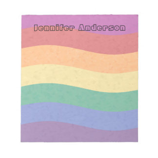Rainbow Colored Wavy Lines Notepad
