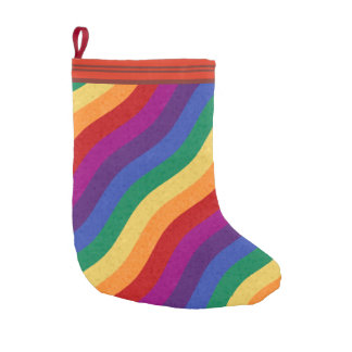 Rainbow Colored Wavy Lines Small Christmas Stocking
