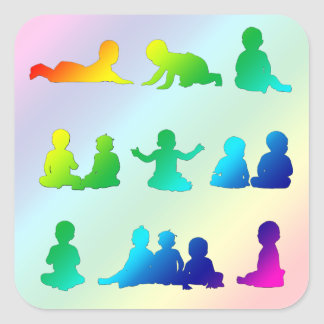 Rainbow Colorful Babies Silhouettes Sticker