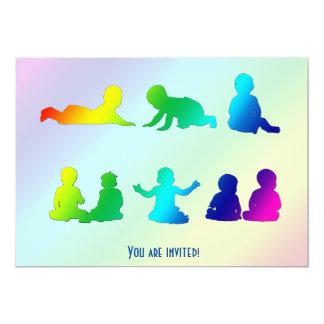 Rainbow Colorful Baby Born Or Shower Invitation
