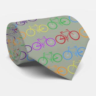 rainbow colorful bicycles. Khaki background Neck Tie