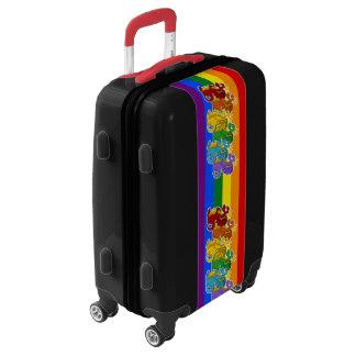 Rainbow colorful dragons cartoon luggage