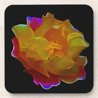 Rainbow colorful fractal rose drink coaster