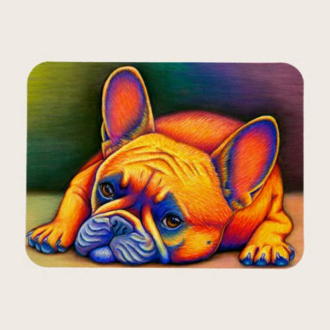 Rainbow Colorful French Bulldog Flexible Magnet