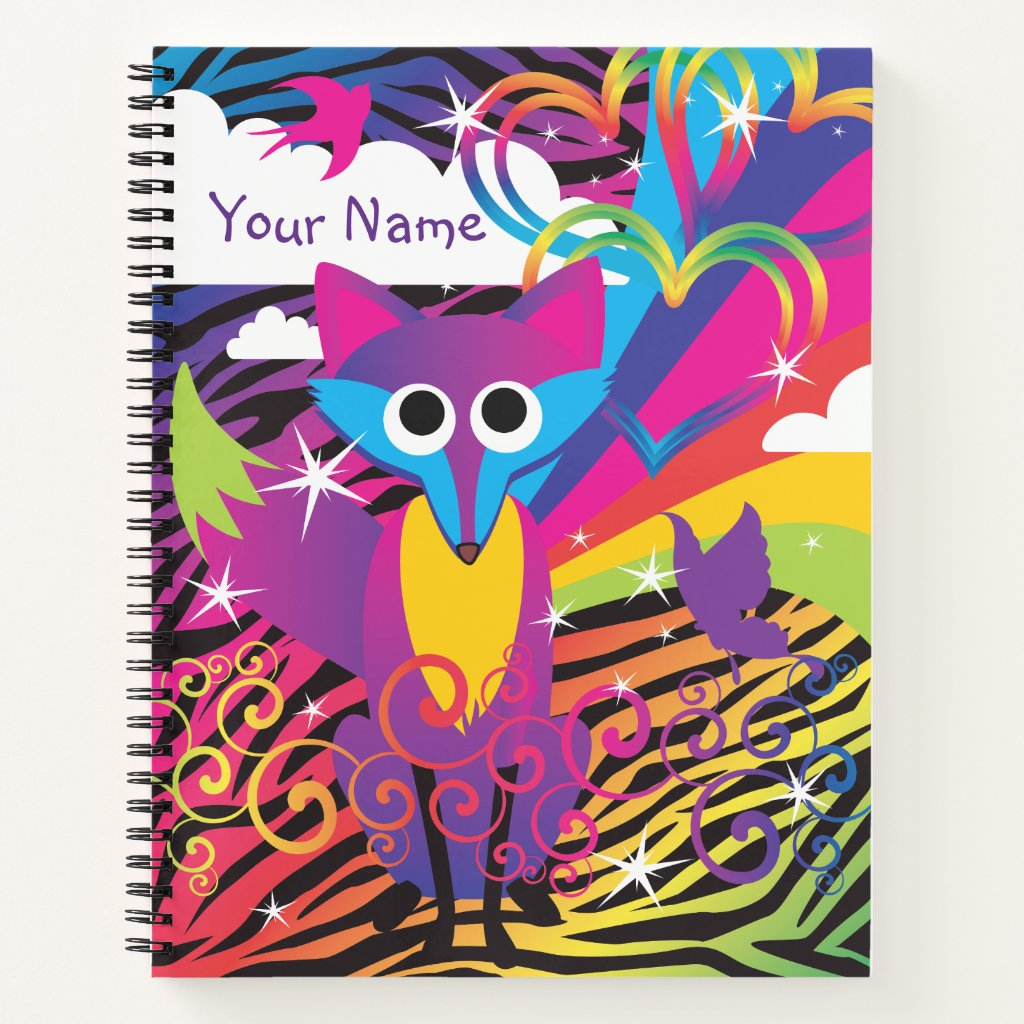 Rainbow Colorful Funky Fox Notebook