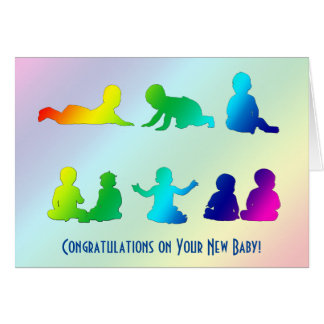 Rainbow Colorful New Baby Greeting Card