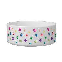 Rainbow Colorful Painted Paw Prints Small Bowl